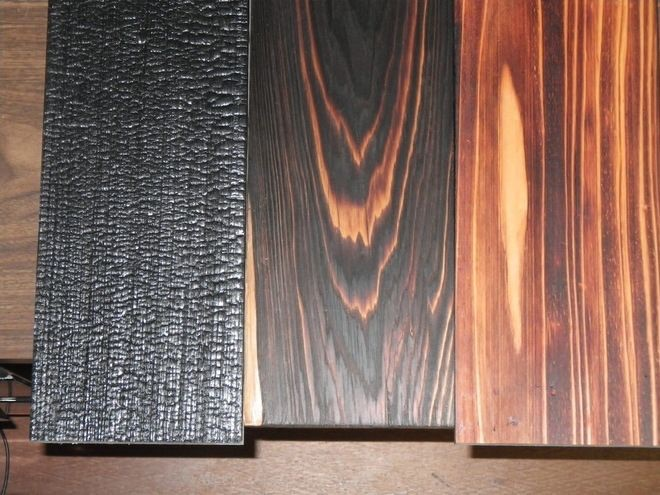 3 wood samples, from left to right:  oak, pine & poplar