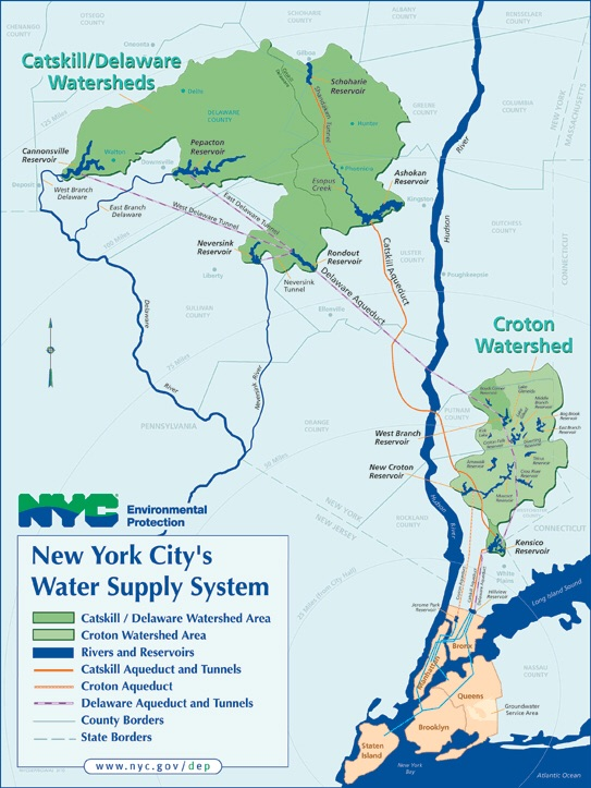 Map of the New York City watershed