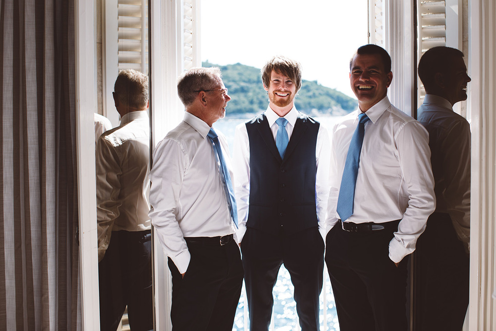 One of a set of images taken at this chic destination Wedding of Jenna & Nick. The stylish old town of Dubrovnik, Croatia.  The Groom and his men.  Photography by Matt Porteous