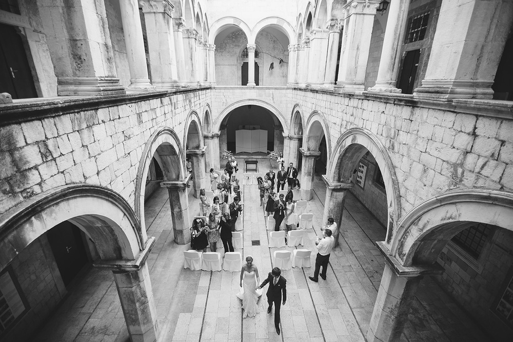 One of a set of images taken at this chic destination Wedding of Jenna & Nick. The stylish old town of Dubrovnik, Croatia.  The Bride and Groom just married.  Photography by Matt Porteous