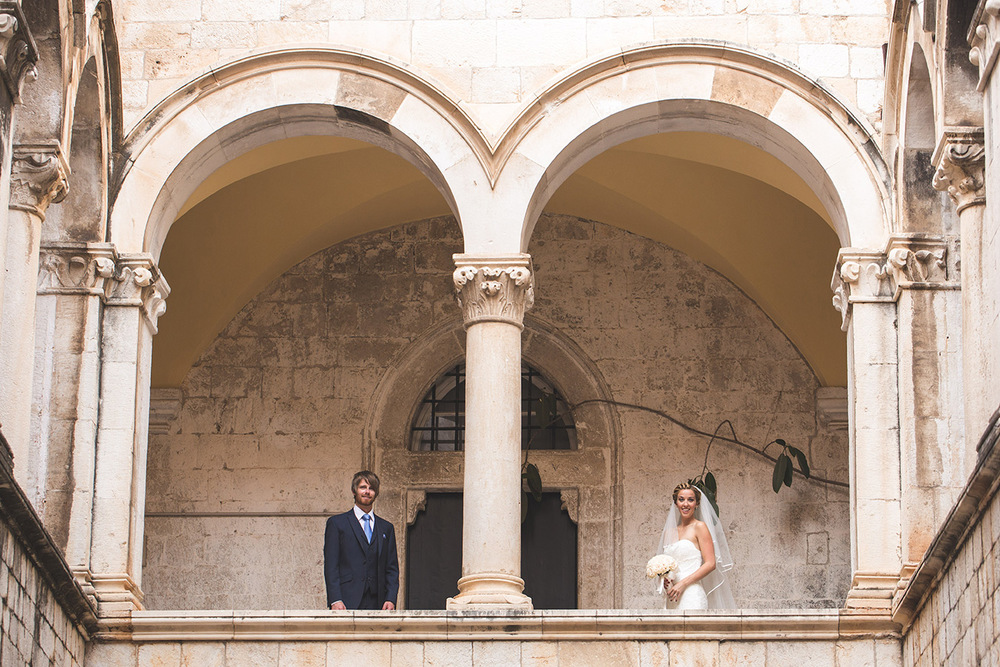 One of a set of images taken at this chic destination Wedding of Jenna & Nick. The stylish old town of Dubrovnik, Croatia.  The Bride and Groom.  Photography by Matt Porteous