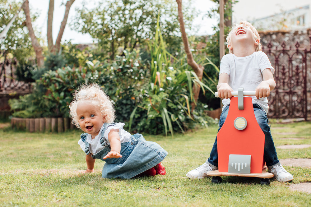 Children laughing outdoors