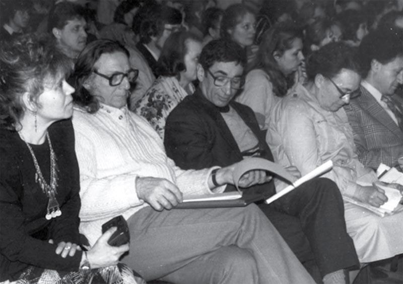 """А.Ф. Семенко (крайняя справа) на Международной конференции """"Психологическая астрология"""", г. Харьков, 1991 г."""