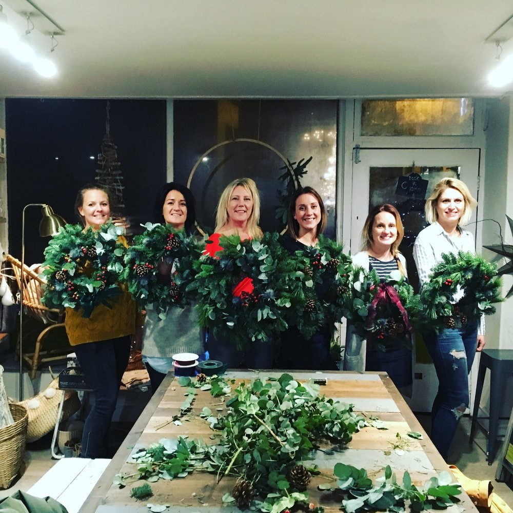 Wreath making in Offshore Blooms