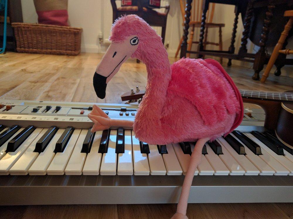 Ringo the Flamingo sitting on a vintage casio beside a ukulele!!