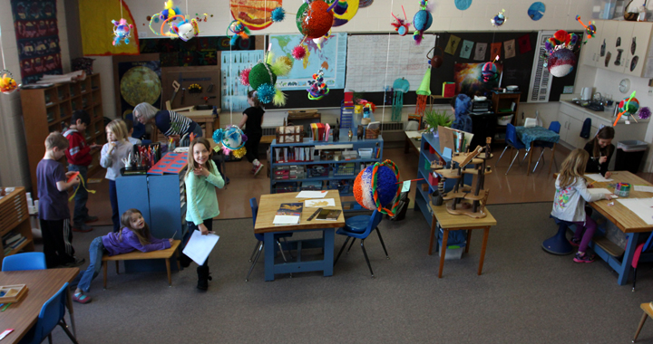 Art is an everyday occurrence in the classroom. Here students have created planets to enrich their learning of our solar system. In addition to art being incorporated into the curriculum, lower-elementary students occasionally have the opportunity to have directed art lessons from Pat Taylor, former teacher and volunteer art consultant.