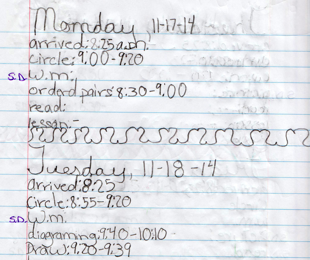 Students keep a work journal to plan their morning and keep track of how they spend their time.