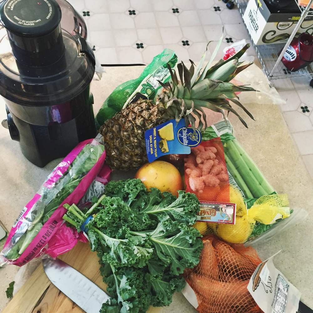 My kitchen counter over floweth with juice prep.