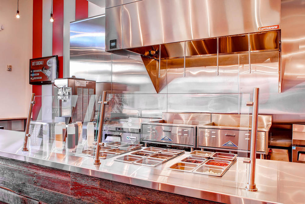 Commercial Stainless steel walls and counters at Funnel cakes in Stapleton