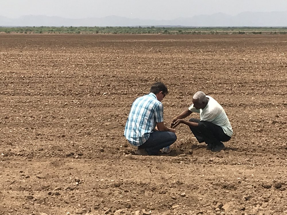 Two members of the Verdant Frontiers team taking soil samples on from the site of a potential project in Southern Ethiopia.