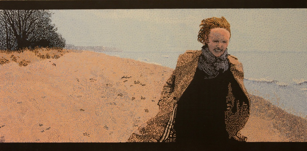 "Enid on the Beach, Oil on Panel, 12"" x 24"", 2016, $1,900"