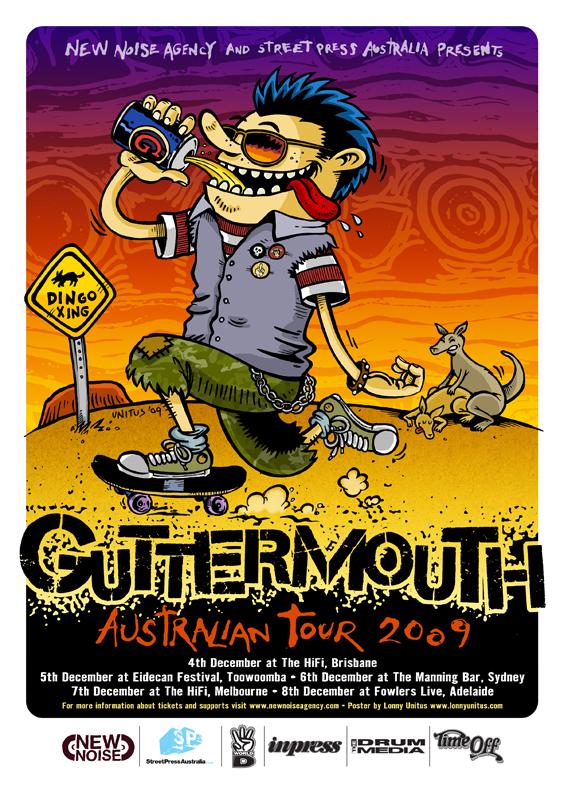 GUTTERMOUTH AUSTRALIAN TOUR POSTER