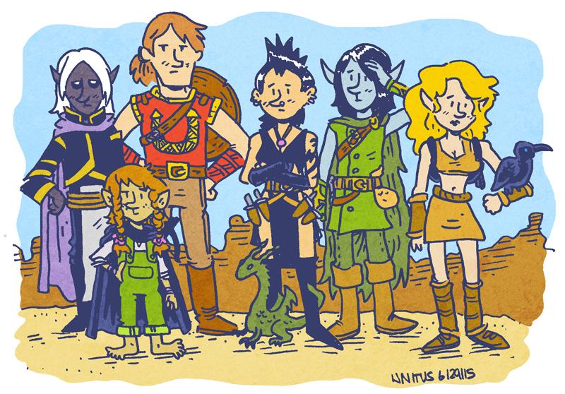 Left to Right: Gral of the Underdark (Drow Elf Wizard), Mamie Thorngage (Halfling Rogue), Valeros the Brave (Human Warrior), Mara (Human Warlock), Rolen Darktree (Elf Eldritch Knight), Hadley (Half-Elf Ranger)