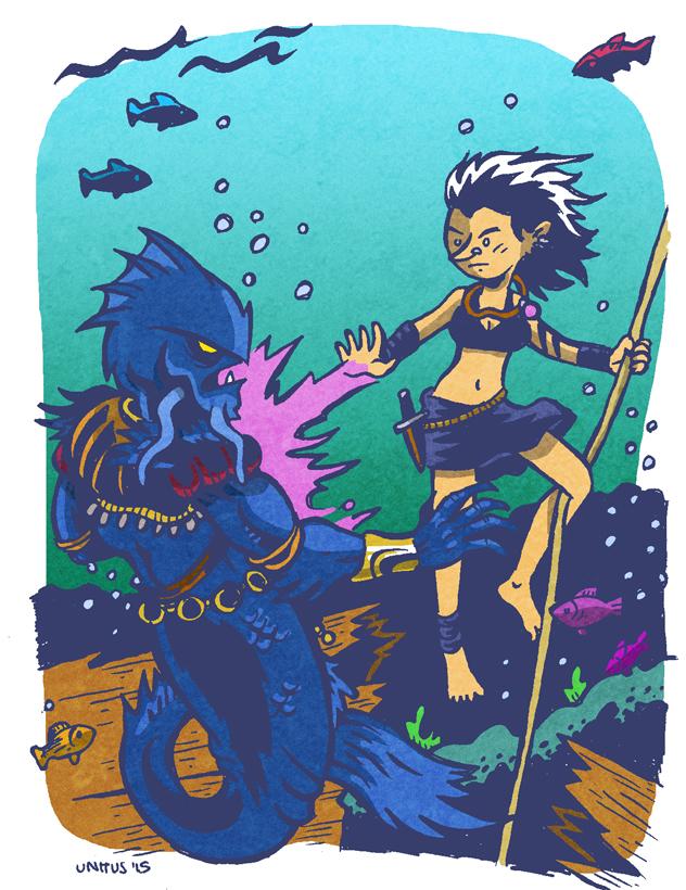 Mara discovered that her Eldritch Blast worked quite well underwater against some Merrow warriors.
