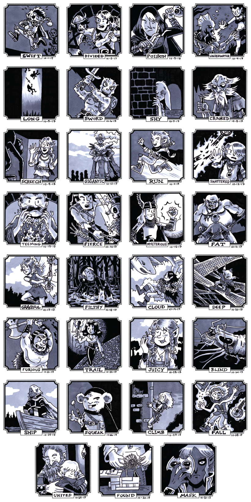 I used the prompts from Inktober in 2017 and applied them to all of the characters I've ever played with.