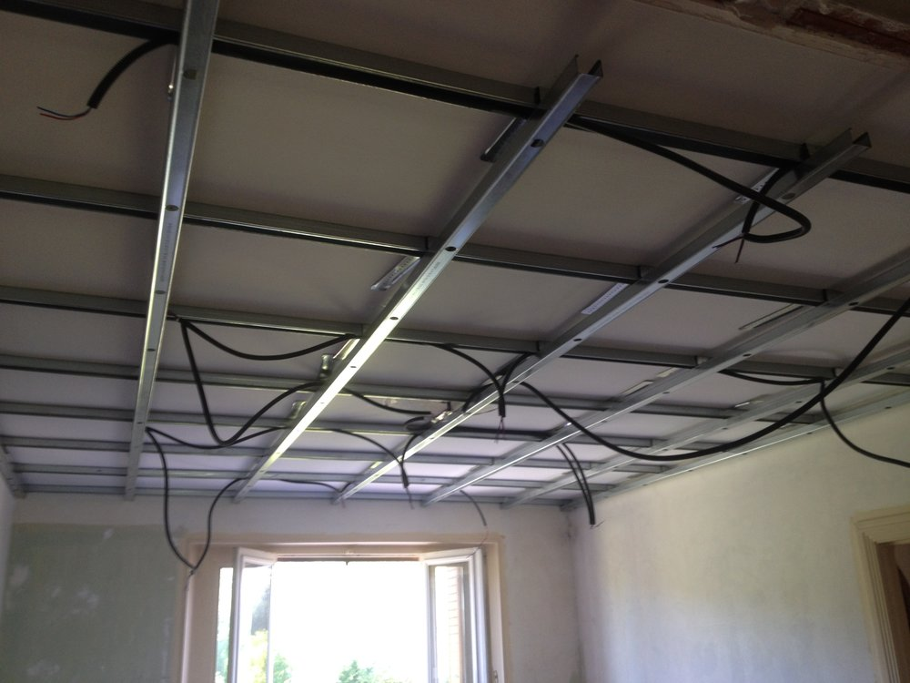 - Attach framing for plasterboard leaving space for electrics and LED spot lights.