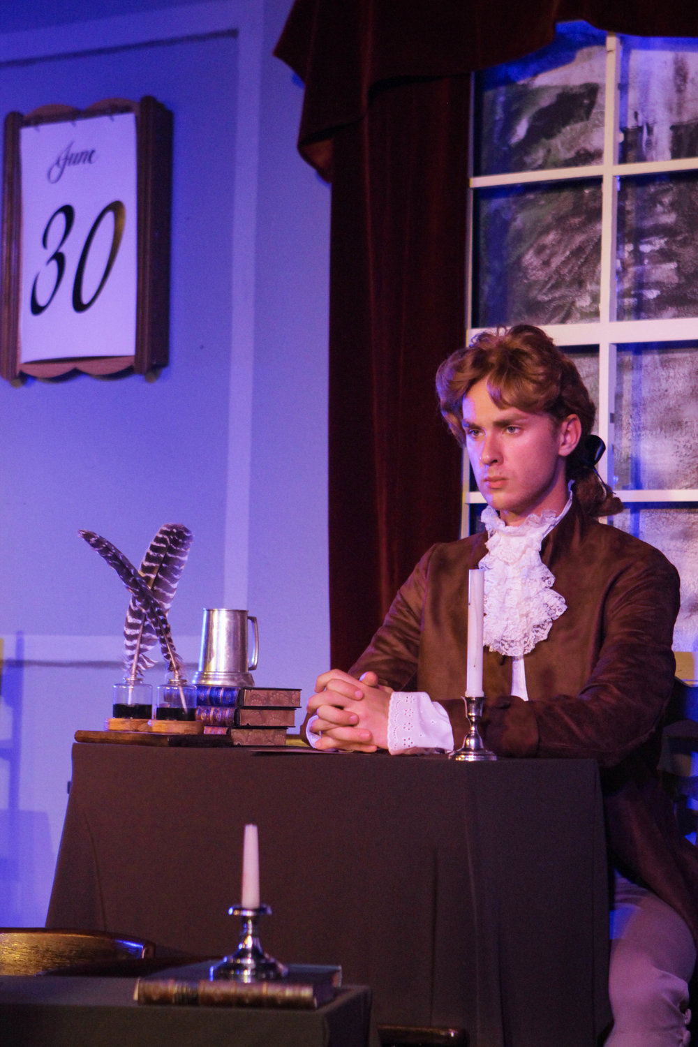 Noah Chudy as Thomas Jefferson.