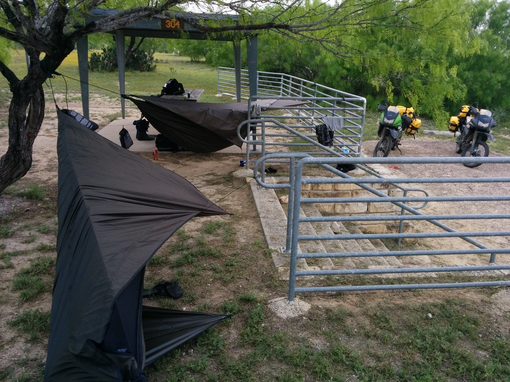 Our campsite for the night in Casa Blancas, Laredo TX. Not ideal but did the job, sort of.