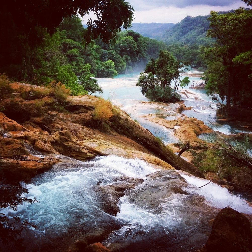 The magnificently beautiful Cascada de Agua Azul on the way to Palenque.