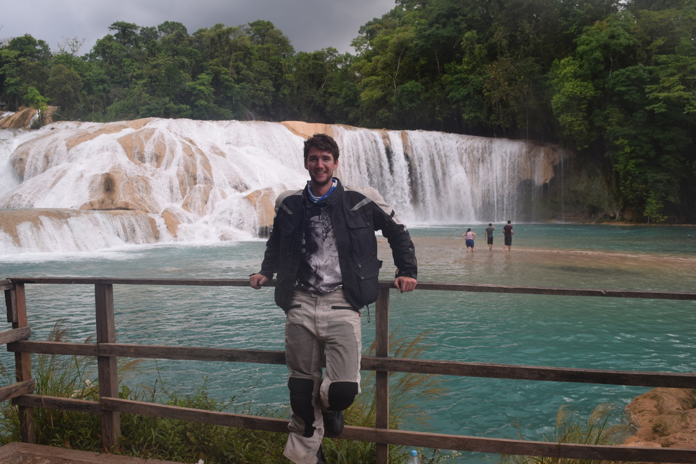 The classic awkward pose in front of the Cascades of Agua Azul outside Palenque.