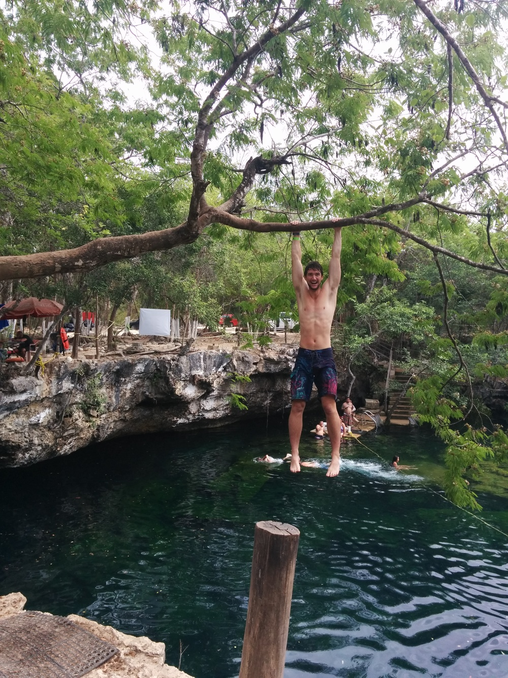Monkeying around at the refreshing Garden of Eden cenote, one of the many limestone sinkholes around the outskirts of Tulum.