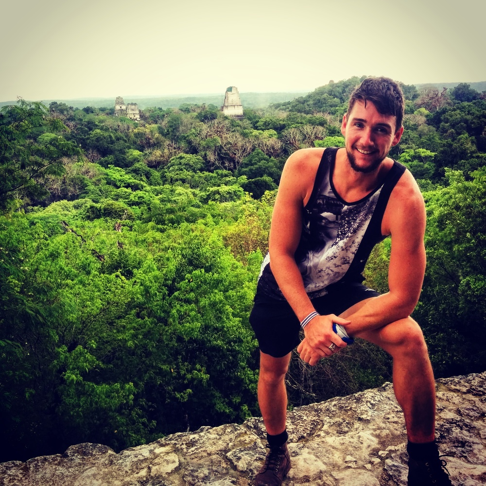 Power pose on top of Temple 4 overlooking Tikal.