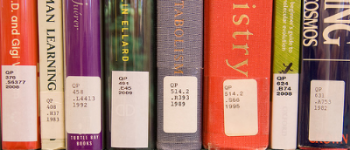 Call numbers on books (Library of Congress Classification). From Flickr user   CCAC North Library  .