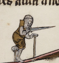 Disabled knight, from  Arthurian Romances , New Haven (CT), Beinecke MS 229 (ca. 1275-1300). Via  @DamienKempf  on  Twitter