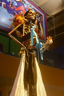 """Dia de los Muertes"" - Jesse Means. Via Flickr. A large Santa Muerte atop the public altar on the Day of the Dead in Seattle, 2010"