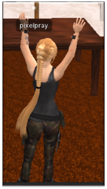 "Screenshot of the researcher's SL avatar from the 2011 study, ""Pixelated Prayers 1"""