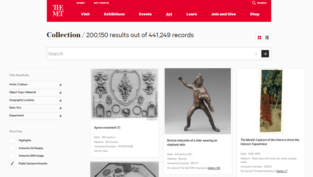 Screenshot of  The Met's Collection database , 15 February 2017.