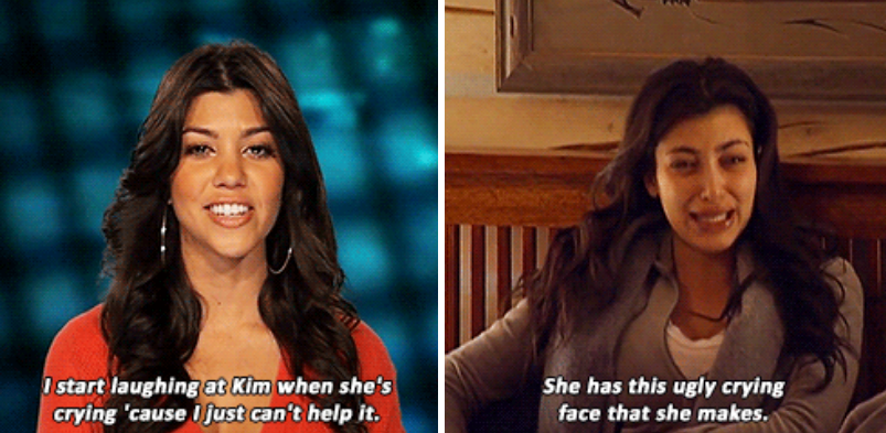 Screen grab from  KUWtK  (S02E08, first aired 4 May 2008). Kourtney Kardashian (left),  inadvertently launches the 'ugly crying' Kim Kardashian West (right) meme: 'I start laughing at Kim when she's crying 'cause I just can't help it. She has this ugly crying face that she makes.'