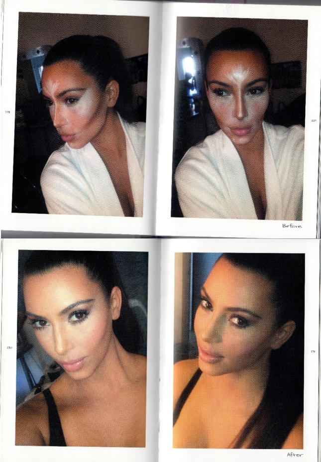 "Fig. 4.    Scan of Kardashian West,  Selfish , pp. 228-29 (top) and pp. 230-31 (bottom): close-up selfies of Kardashian West's face. Pp. 228-29 shows her face covered in strange-looking contouring make-up, captioned ""Before"". Pp. 231-31 shows her luminous face once the make-up has been fully blended, captioned ""After""."