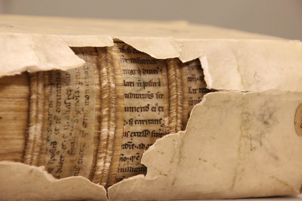 Leiden, University Library, 583, printed work (16th century) with medieval fragments inside (12th century). Photo by  Erik Kwakkel . ( CC BY 4.0 )
