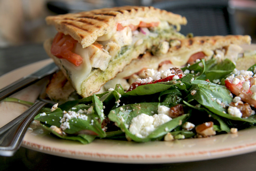 Pesto Chicken Panini on Gluten-Free Focaccia Bread... with a side Spinach Salad