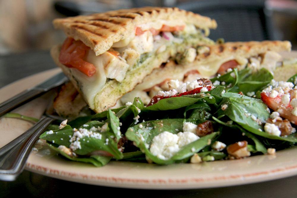Pesto Chicken Panini on Gluten-Free Focaccia Bread... with a side Spinach Salad