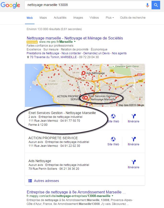 référencement géolocalisé google maps google+ enet service gestion marseille