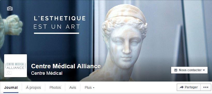 Page Facebook du Centre Médical Alliance (esthétique)
