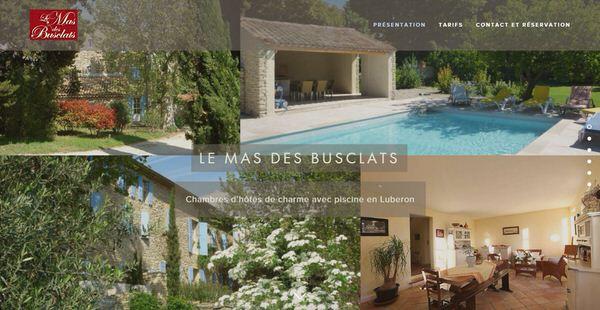 Site Web des chambres d'hôtes le Mas des Busclats
