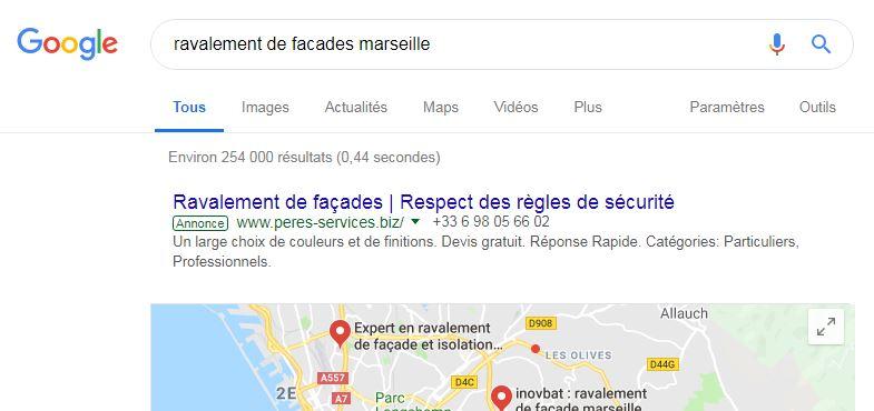 Campagne Google Ads pour notre client Peres Services
