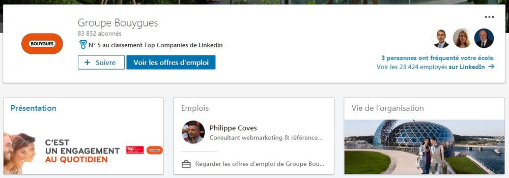 Page LinkedIn du groupe Bouygues