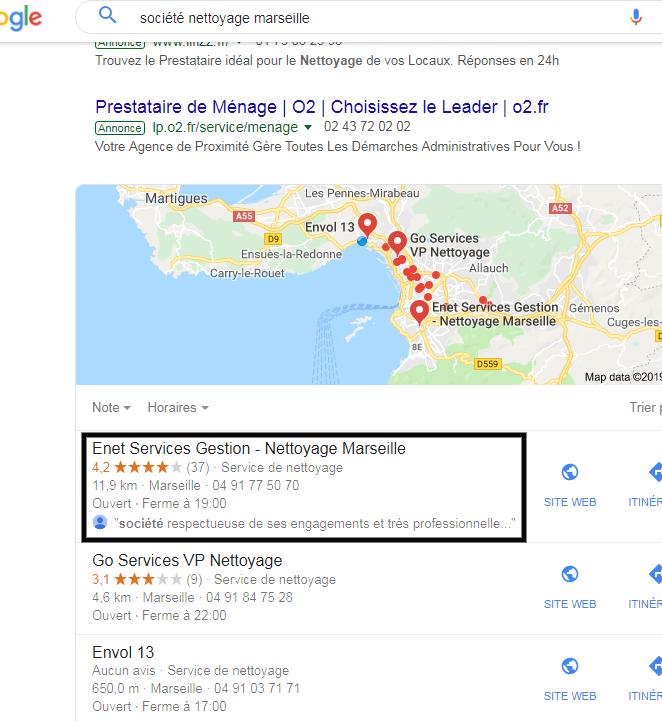 """Résultats géolocalisés en première page de Google pour """"Enet Services Gestion"""" à Marseille"""