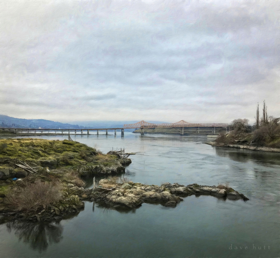 Old fishing platform and the Dalles bridge on the Columbia River          2018
