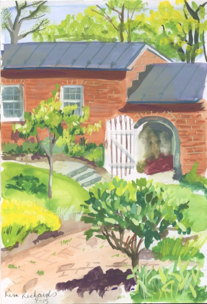 The gardens at Oatlands in Leesburg VA. Gouache on paper. Copyright Kim T. Richards 2015.