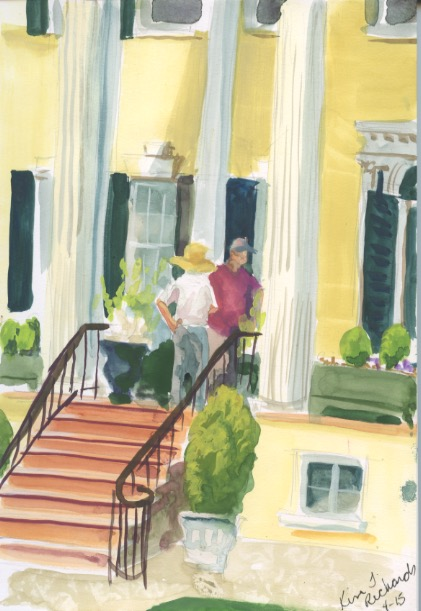 The front entrance at Oatlands. Gouache on paper. Copyright Kim T. Richards 2015