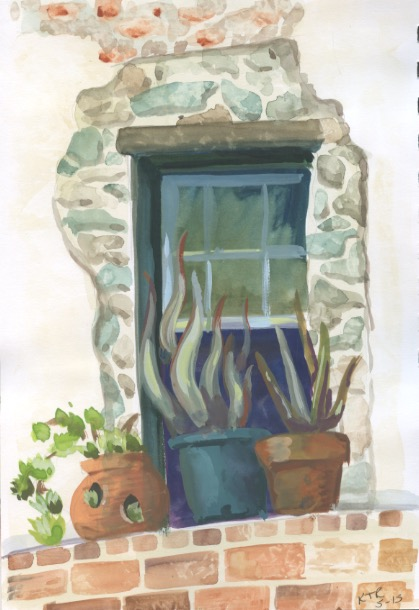 Succulents in the greenhouse at Oatlands. Gouache on paper. Copyright Km T. Richards 2015