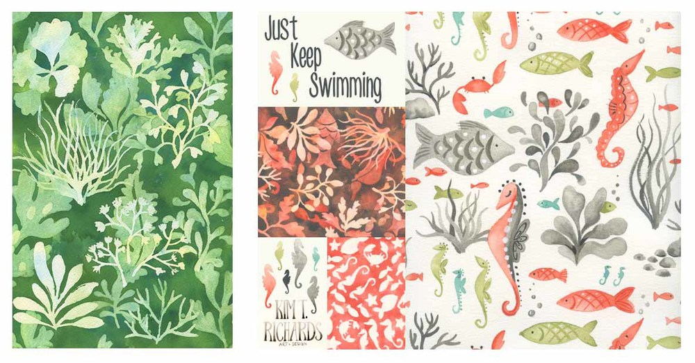 Sketchbook paintingof seaweed that became a group of pattern designs for baby created for MATS B course. Copyright 2015 Kim T. Richards. All rights reserved.