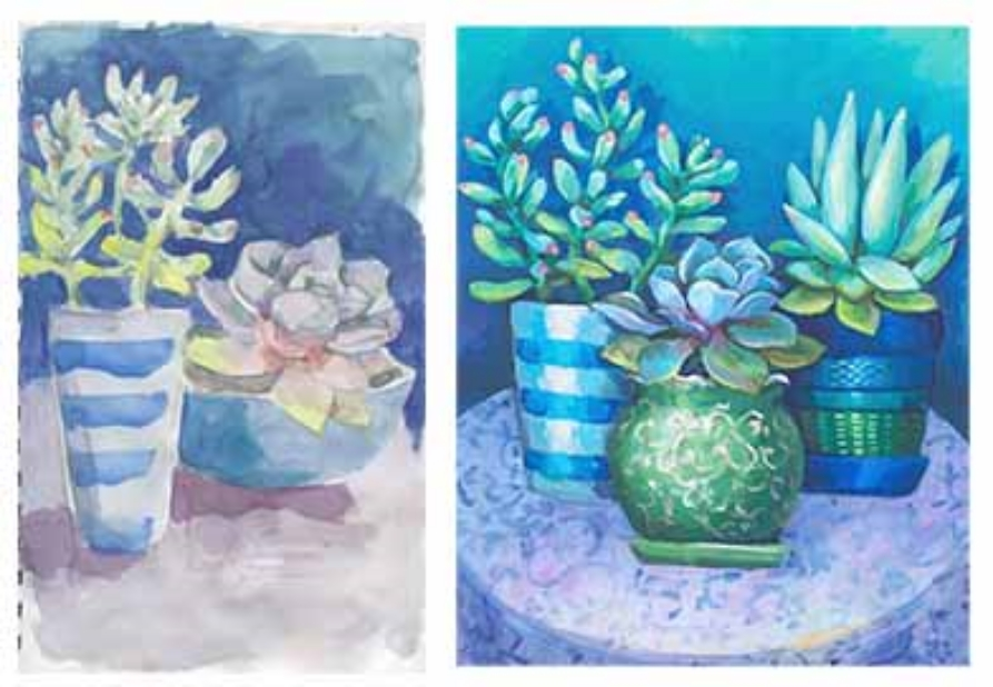 Sketchbook painting of succulents that became an acrylic painting. Copyright 2015 Kim T. Richards. All rights reserved.