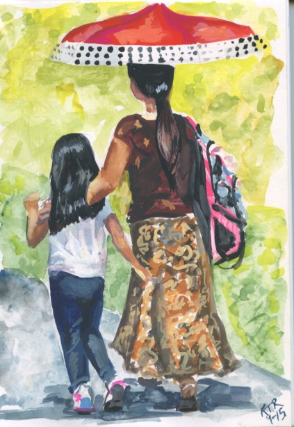 Mother and daughter on the way home from school. Copyright 2015 Kim T. Richards. All rights reserved.