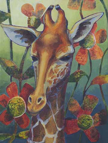 Giraffe 18x24 Acrylic on Canvas. Copyright 2014 Kim T. Richards. All rights reserved.